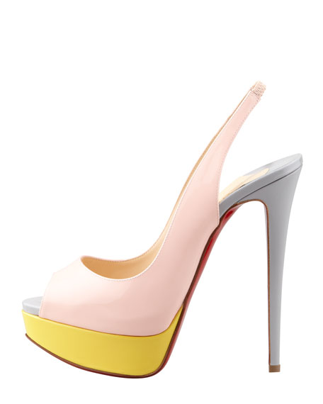 Lady Peep-Toe Colorblock Red Sole Slingback, Pink/Canari