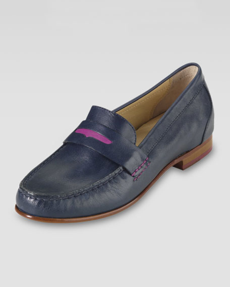 Monroe Penny Moccasin, Blue/Pink