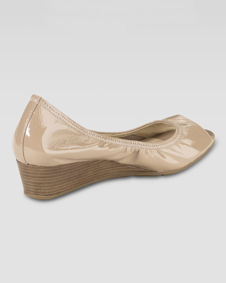 Air Tali Patent Peep-Toe Wedge, Sandstone