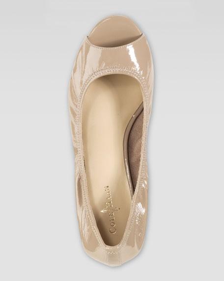 Air Tali Patent Peep-Toe Wedge, Sandstone