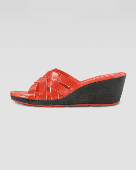 Bonnie Strappy Slide Wedge, Orange Pop