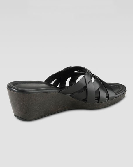 Bonnie Strappy Slide Wedge, Black