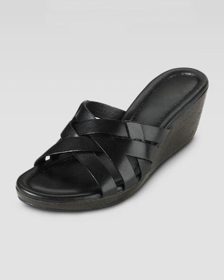 Bonnie Strappy Slide Wedge, Black