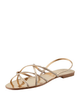 Pedro Garcia Elora Crystal-Detailed Sandal, Gold