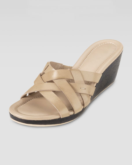 Bonnie Strappy Slide Wedge, Sandstone
