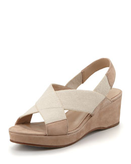 Eileen Fisher Seam Crisscross Wedge Slingback, Linen
