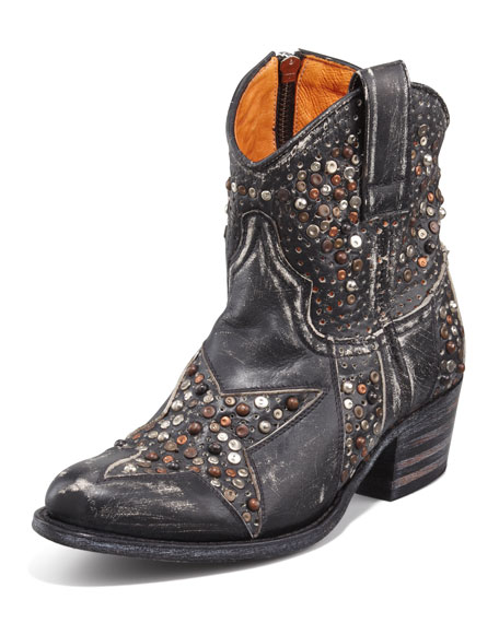 Deborah Star-Studded Ankle Boot, Black