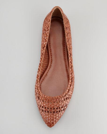 Regina Woven-Leather Skimmer