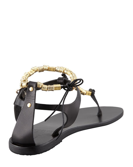 Chrysso Beaded Thong Sandal, Black