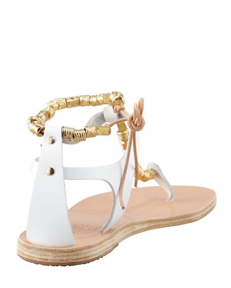 Chrysso Beaded Vachetta Thong Sandal, White