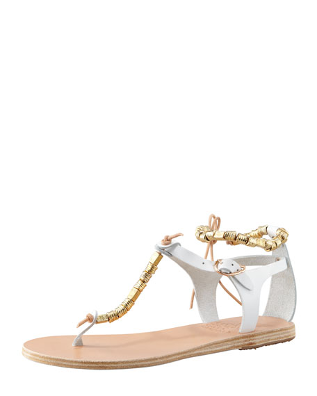 Chrysso Beaded Vachetta Thong Sandal, White