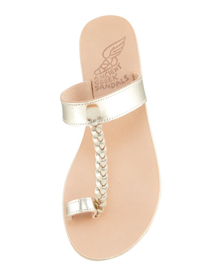 Melpomeni Toe-Ring Braided Flat Sandal, Platinum