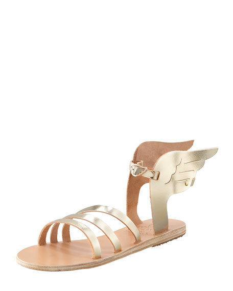 Ikaria Winged Vachetta Flat Sandal, Platinum