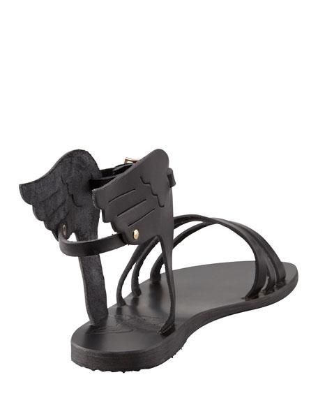 Ikaria Winged Vachetta Flat Sandal, Black