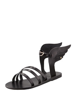 Ancient Greek Sandals Ikaria Winged Vachetta Flat Sandal, Black