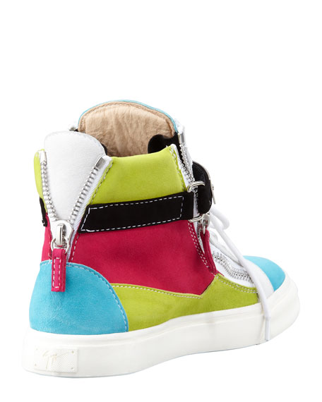 High-Top Buckled Colorblock Sneaker