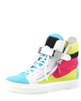 Giuseppe Zanotti High-Top Buckled Colorblock Sneaker