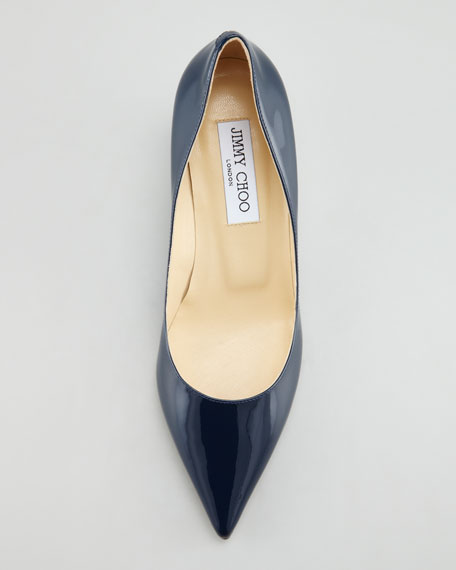 Aza Low-Heel Patent Pump, Navy
