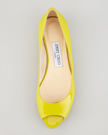 Beck Patent Leather Open-Toe Ballerina, Citrine