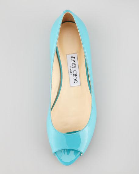 Beck Open-Toe Ballerina, Turquoise