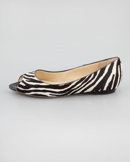 Beck Zebra-Print Calf Hair Flat