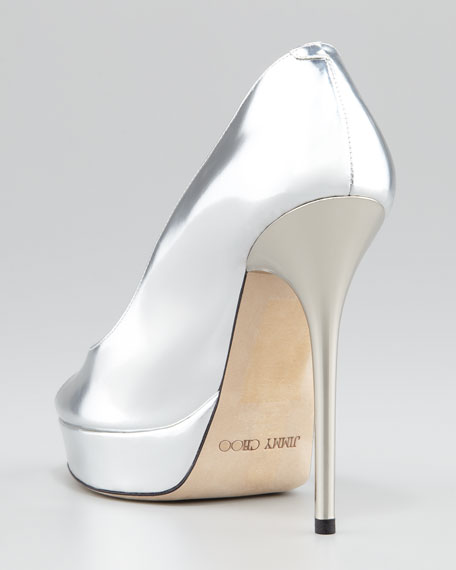 Crown Mirror Open-Toe Leather Pump