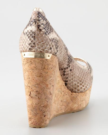 Papina Snake-Print Cork Wedge, Desert