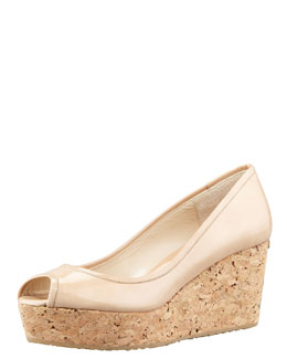Jimmy Choo Parley Patent Cork Wedge, Nude