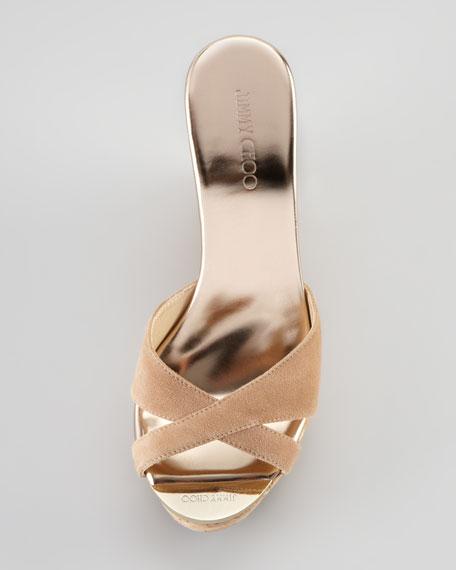Perfume Cork Wedge Slide, Nude