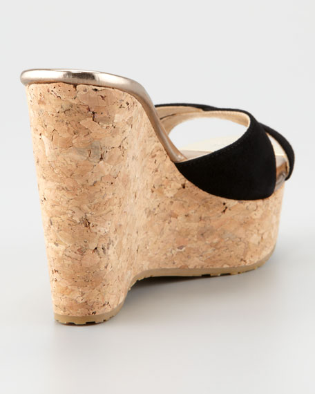 Perfume Cork Wedge Slide, Black
