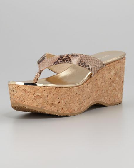 Pathos Snake-Print Platform Thong Sandal