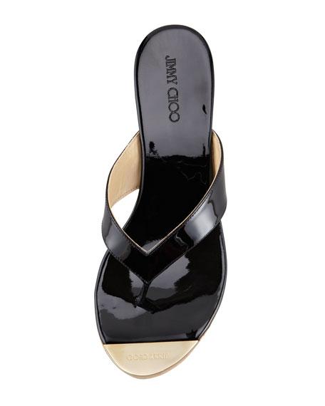 Pathos Patent Leather Cork Thong Sandal, Black