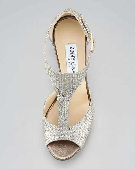 Tribe Glitter T-Strap Sandal, Champagne
