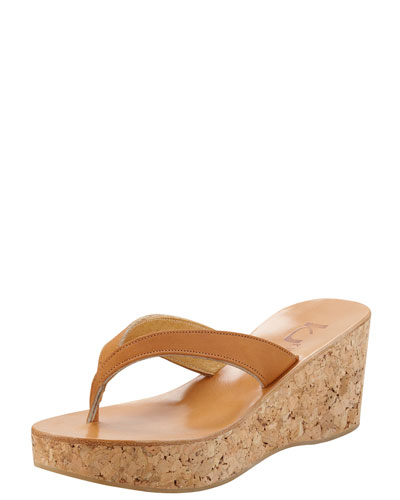 K. Jacques Diorite Cork Wedge Thong, Natural