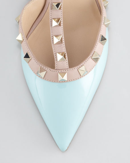 Rockstud Two-Tone Pointed Toe Pump, Turquoise