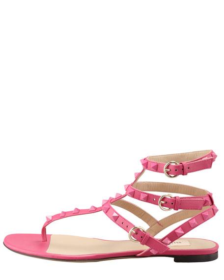 Rockstud Ankle-Wrap Sandal, Fuchsia