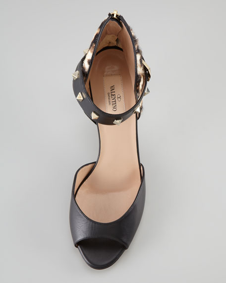 Rockstud Ankle-Strap Leopard Calf Fur-Back Sandal