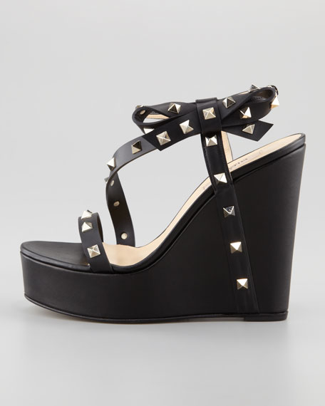Rockstud Bow Wedge Platform Sandal, Black