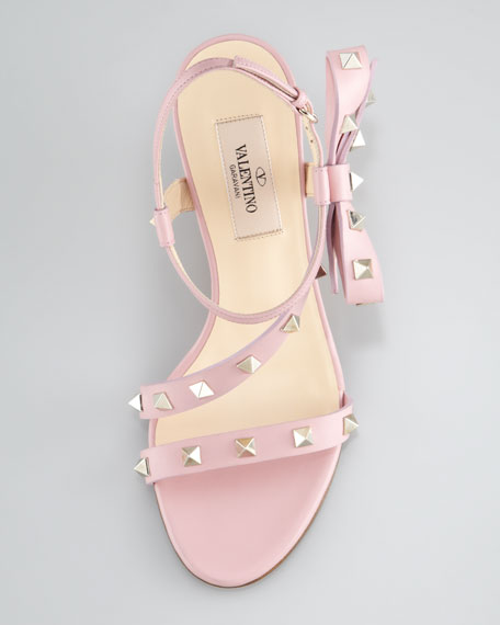 Rockstud Asymmetric Bow Wedge Sandal