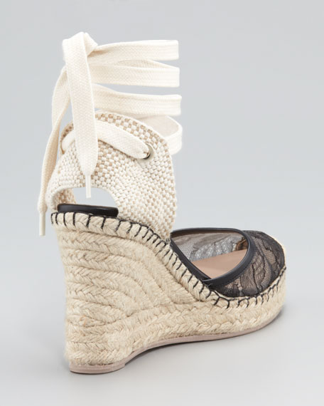 Lace-Covered Espadrille Wedge