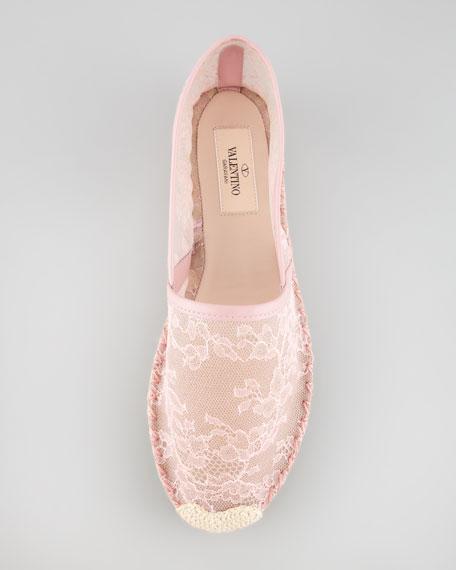 Flat Lace Espadrille, Gardenia