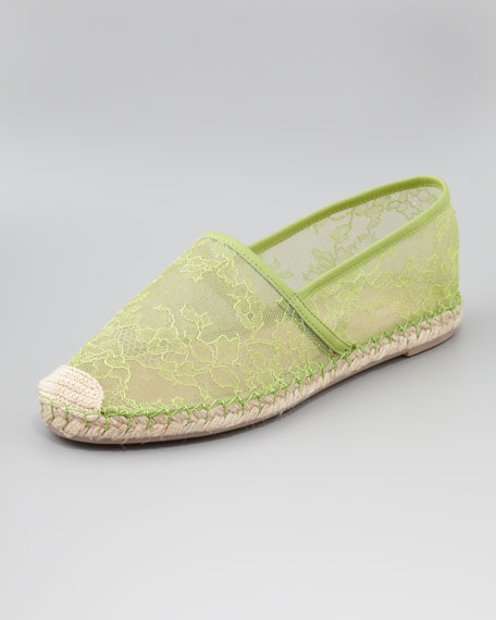 Flat Lace Espadrille, Apple