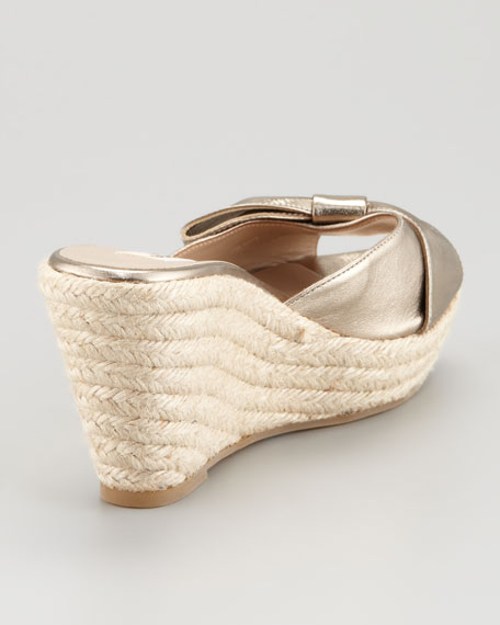 Metallic Leather Bow Espadrille Slide, Gold