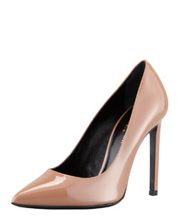 Saint Laurent Paris Pointed-Toe Patent Pump, Nude