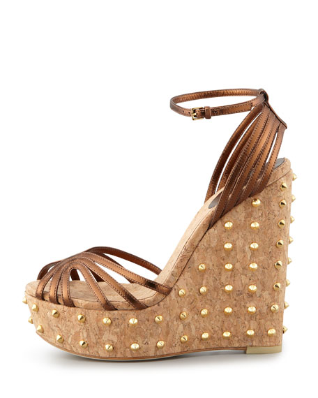 Leather Studded-Wedge Sandal, Bronze