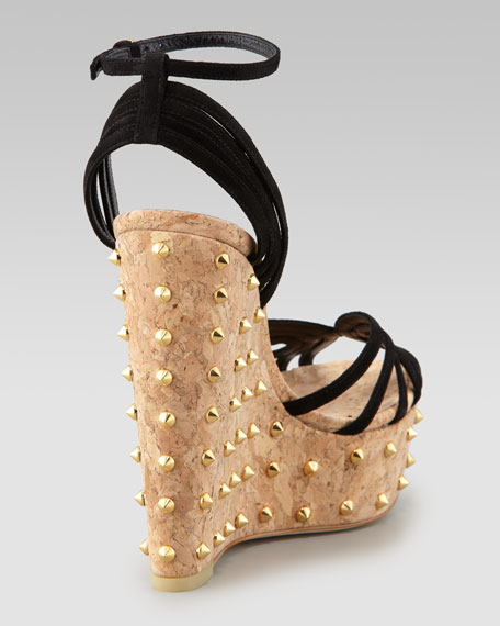 Suede Studded-Wedge Sandal, Black
