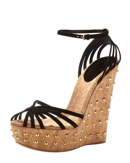 Suede Studded-Wedge Sandal, Black
