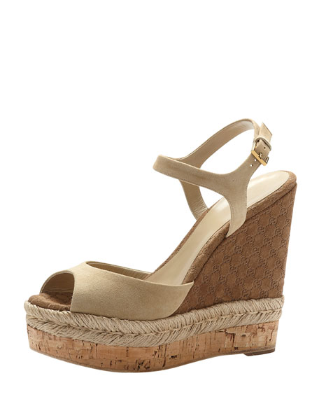 Suede Espadrille Wedge Sandal, Cream