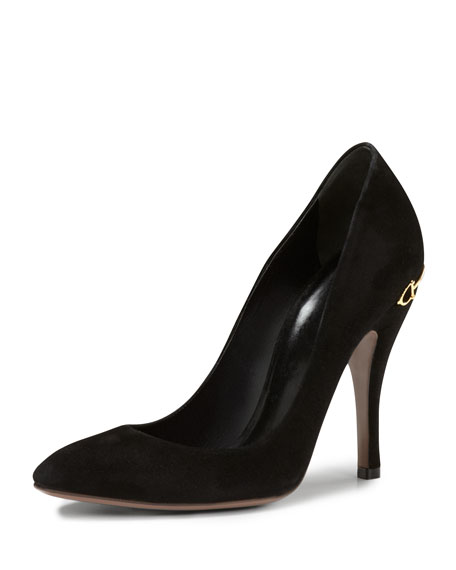 Horsebit-Heel Suede Pump, Black