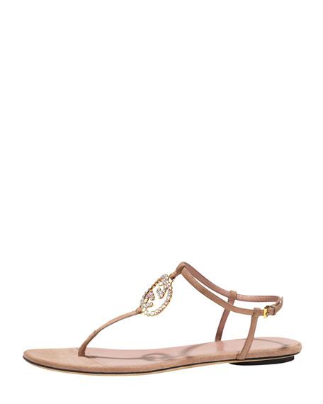 Iridescent Crystal Thong Sandal, Dark Cipria